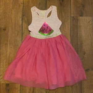 White and pink watermelon dress